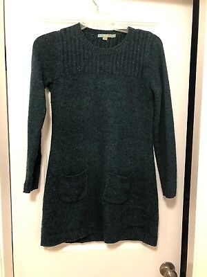 Boden Womens Dark Green Cable Knit Wool Blend Tunic Sweater Dress Us