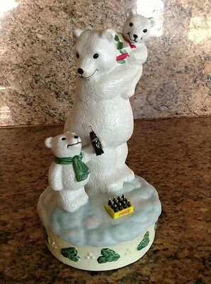 Vintage 1996 Coca Cola Polar Bear Musical figurine, Town Square Collection