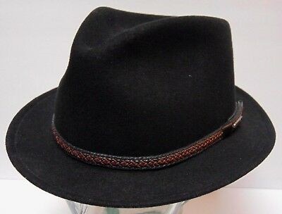 0dfe6ea65d64b Size Medium Black Stetson Cruiser Crushable Packable Wool Fedora Hat Made In  Usa