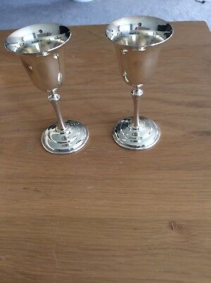 2 Silver Plated Miniature Goblets