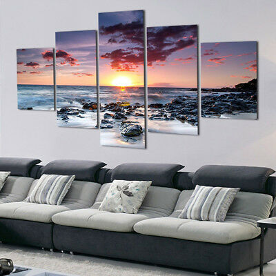 5 Panel Sunset Sea Cloud Wall Art Canvas Picture Painting Home Decor Unframed