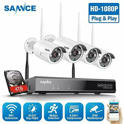 SANNCE 4CH Wireless 1080P NVR Outdoor 720P IR WIFI Camera CCTV Security System