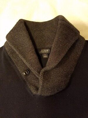 J CREW Vtg Mens Shawl collar SWEATER Size  S Small 100% cotton Front pockets e