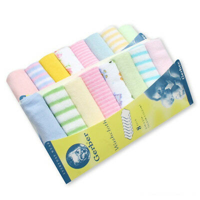 8x/set Soft Cotton Baby Infant Newborn Bath Towels Washcloth Feeding Wipe Cloth