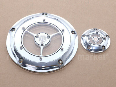 Chrome Timing Clarity Derby Cover RSD for 1999-2014 Harley Twin Cam Touring Dyna