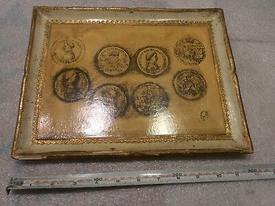 """Florentine Wood Tole Tray w/ Royal Italian Medieval Medallions & Coins 12""""x9"""""""
