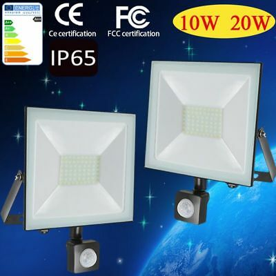 LED Security FloodLight 10W 20W PIR Sensor Motion Garden Yard Outdoor Light IP65