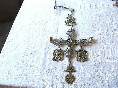 Vintage Gilded Brass Bronze Byzantine Orthodox Cross Candle Holder Double Eagle