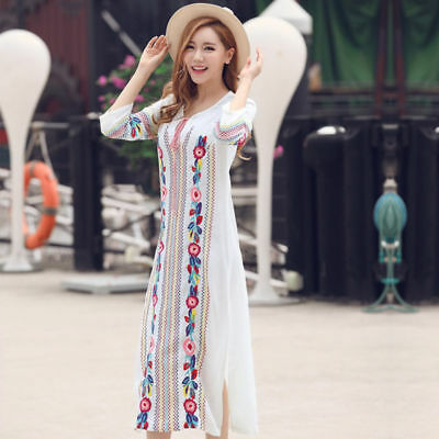 HOT vintage Women Cotton linen ethnic embroidery Mexican boho maxi tunic  dress