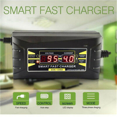 Genuine12V 10A AMP 20~ 150ah Smart Car Motorcycle Battery Charger LCD Display US