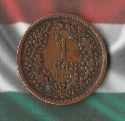 1868 Hungary 1 Krajczar- Hapsburg Dynasty- Nice old copper coin!