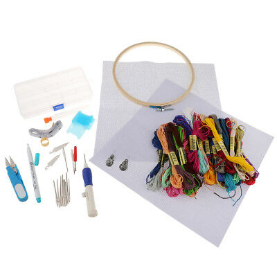 Embroidery Thread Hoop Cross Stitch Kit for Starter Beginners DIY Tools Set