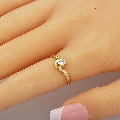 Womens Ring Solitaire Cubic Zirconia Yellow Gold Filled Size 7.5 Free Shipping