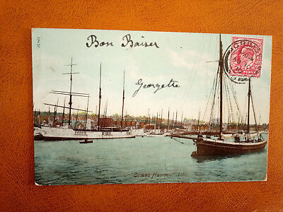 cpa ROYAUME UNI - ISLE OF WIGHT - Cowes Harbour - England - 1910