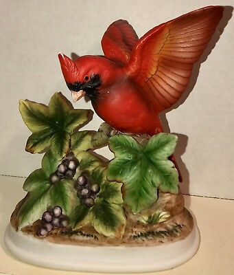 Vintage Andrea by Sadek Red Cardinal Perched on a Tree Porcelain Figurine #7703