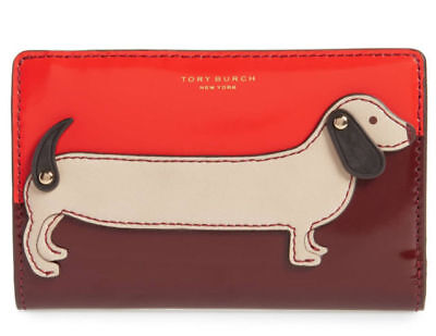 Tory Burch DACHSHUND SLIM Card Case Holder Wallet McGraw Dog ~NWT~
