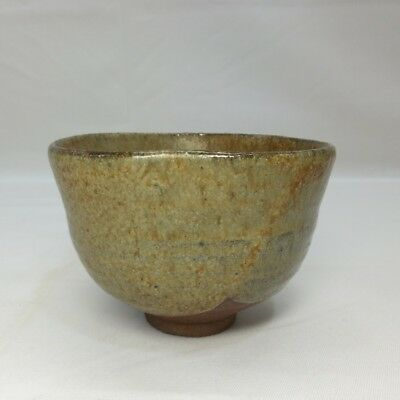 B403: Japanese tea bowl of old KARATSU pottery with good glaze and atmosphere