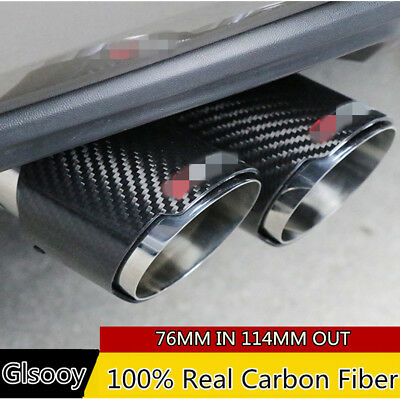 Carbon Fiber Glossy Car Exhaust Muffler Pipe Tips 76MM IN-114MM OUT Universal