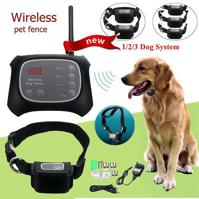 1/2/3 Dog Wireless Electric Pet Fence Containment System Waterproof Collar 200M