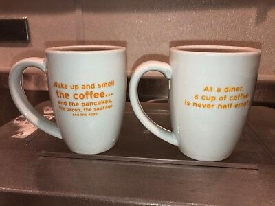 NEW Denny's Restaurant Limited Edition Coffee Mugs Cups Lot 2 YELLOW LETTERING