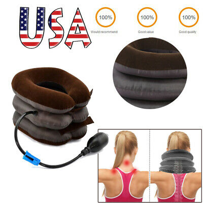 US Massager Neck Brace Back Support Cervical Collar Air Traction Therapy Device