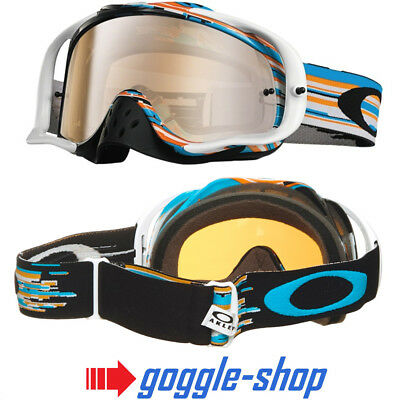 Oakley Crowbar Motocross Mx Fahrrad Brille - Glitch Blau Orange / Schwarz Irdium