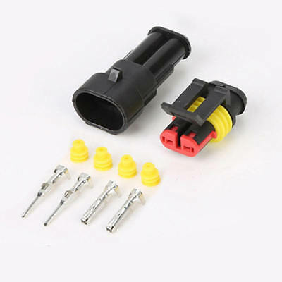 10Kits 2 Pin Way Sealed Waterproof Electrical Wire Connector Plug Car Auto KLI