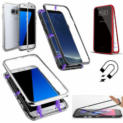 For Samsung Galaxy S9 Metal Magnetic Adsorption Case Back Tempered Glass Cover