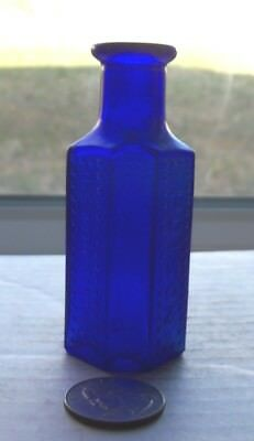 Nice Blue Canadian Flat Back Poison Embossed, 1 Oz, Poison, Use With Caution