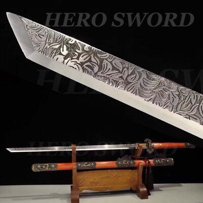 T1095 High Carbon Tang Dao Battle Chinese sword etching engrave flowers Blade