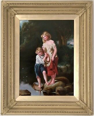 Stepping Stones Antique Oil Painting 19th Century English School