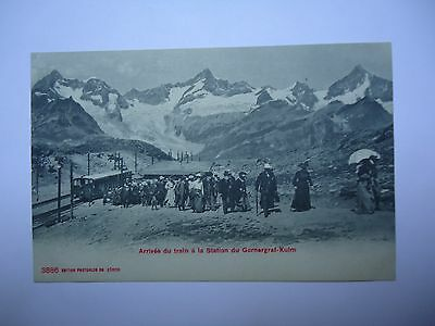 1 CARTE POSTALE ANCIENNE GORNEGRAT KULM arrivee  du train a la station