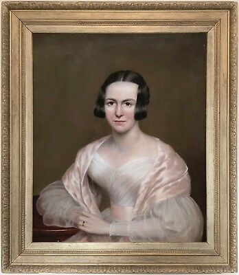 Portrait of a Young Lady Antique Oil Painting 19th Century English School c.1840