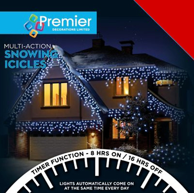 Snowing icicles by premier decorations 240-360-480-720, warm white, Blue & white