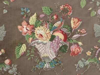 Lovely Antique/vintage  French floral fabric printed cotton  shabby chic