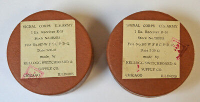 Wwii Army Signal Corps Type R-14 Earphone & Headset Receivers / 1942