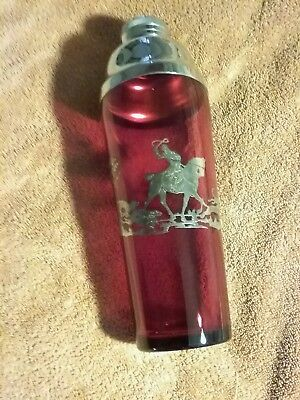 Vintage Red Ruby Glass Fox Hunt Martini Shaker with Sterling Silver Overlay