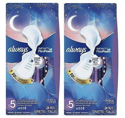 Always Infinity Flex Foam Sz 5 Pads Extra Heavy Overnight 48 CT Dmg Boxes B007