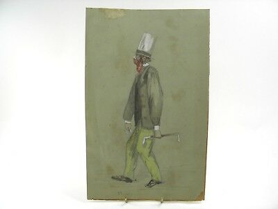 Antique 19th century caricature watercolour painting of a gentleman in top hat