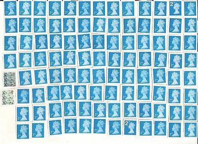 100 GB second 2nd class BLUE postage stamps (£58 face) unfranked on white paper