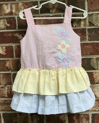 4fed5150c VINTAGE TODDLER GIRL Pastel Seersucker Floral Tiered Dress 2T ...