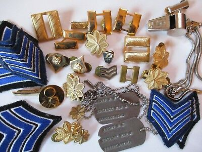 Lot of 34 Police and Military Patches, Tags, Stripes, Whistle, Pin Backs, Tacks