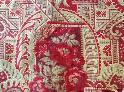 Fabulous  Antique French floral fabric printed cotton upholstery sewing