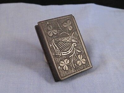 Vesta Case Antique Bog Oak Wooden Irish Harp & Shamrock Book Matchsafe Box