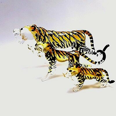 Figurine Miniature Blown Glass Tiger Family Animal Collectibles Handmade Art