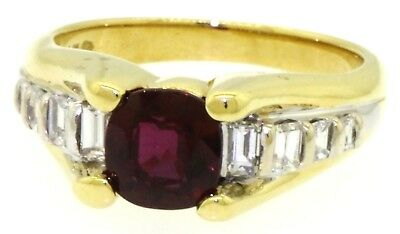 Mayor's & AGL 18K YG 2.41CT diamond & natural ruby cocktail ring size 7