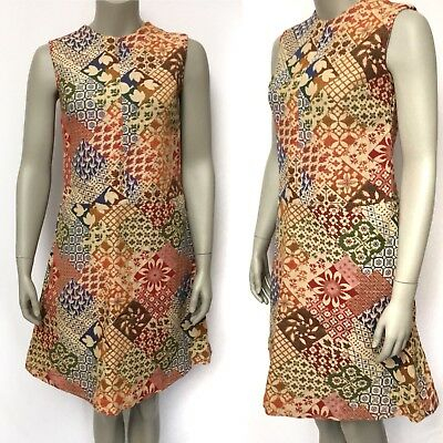 Vintage 1970s Womens Colorful Tapestry Patchwork Hippie Mod Shift Dress Small