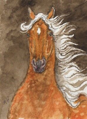 Horse-ORIGINAL ACEO ART-Watercolor-Western-Portrait-Listed by artist