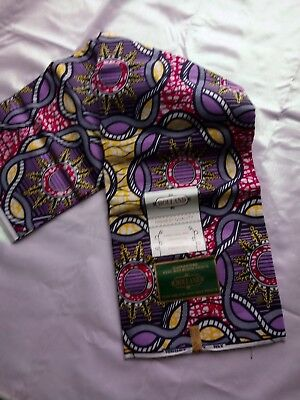 African Cotton Print Fabric Ankara Wax Beautiful Bright Colours 6 Yards