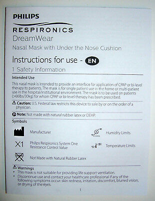 NEW Philips Respironics CPAP DreamWear User Guide Manual Booklet